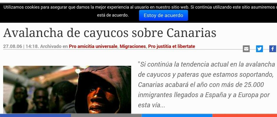 Noticia publicada en Periodista Digital en 2006 sobre la llegada de inmigrantes a Canarias